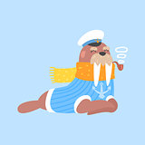 Walrus Smoking Pipe In Captain Outfit, Arctic Animal Dressed In Winter Human Clothes Cartoon Character