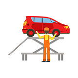 Smiling Mechanic Checking The Vehicle In The Garage, Car Repair Workshop Service Illustration