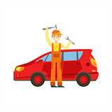 Smiling Mechanic With Wrench And Hammer In The Garage, Car Repair Workshop Service Illustration