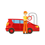 Smiling Mechanic Checking The Battery Power In The Garage, Car Repair Workshop Service Illustration