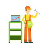 Smiling Mechanic With Wrench And Computer Diagnostics In The Garage, Car Repair Workshop Service Illustration