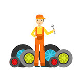 Smiling Mechanic And MAny Wheels In The Garage, Car Repair Workshop Service Illustration