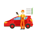 Smiling Mechanic Analysing With Checklist In The Garage, Car Repair Workshop Service Illustration