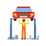 Smiling Mechanic Working Under Lifted Vehicle In The Garage, Car Repair Workshop Service Illustration