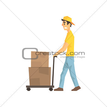 Cautious Worker With Cart An Boxes, Delivery Company Employee Delivering Shipments Illustration