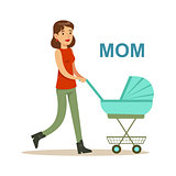 Young Mother Walking With Stroller Happy Family Having Good Time Together Illustration