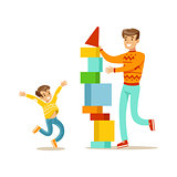 Dad And Son Building A Tower With Blocks, Happy Family Having Good Time Together Illustration