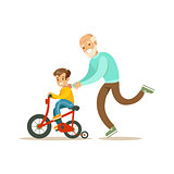 Grandfather Running Behind Grandson Bicycle, Happy Family Having Good Time Together Illustration