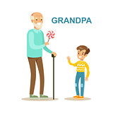 Grandpa Giving Candy To Grandson, Happy Family Having Good Time Together Illustration