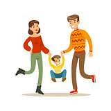 Parents Holding Hands With Kid, Happy Family Having Good Time Together Illustration