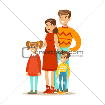 Mom, Dad And Children, Happy Family Having Good Time Together Illustration