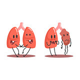 Lungs Human Internal Organ Healthy Vs Unhealthy, Medical Anatomic Funny Cartoon Character Pair In Comparison Happy Against Sick And Damaged