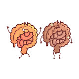 Large Intestine Human Internal Organ Healthy Vs Unhealthy, Medical Anatomic Funny Cartoon Character Pair In Comparison Happy Against Sick And Damaged