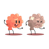 Brain Human Internal Organ Healthy Vs Unhealthy, Medical Anatomic Funny Cartoon Character Pair In Comparison Happy Against Sick And Damaged