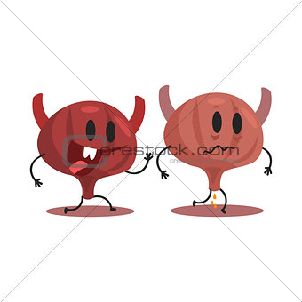 Bladder Human Internal Organ Healthy Vs Unhealthy, Medical Anatomic Funny Cartoon Character Pair In Comparison Happy Against Sick And Damaged