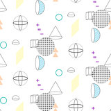 Cones and spheres seamless vector pattern.