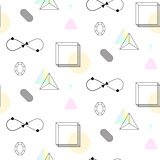Infinity shape and cubes nineties seamless vector pattern.