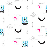 Retro triangles in 90s style seamless vector pattern.