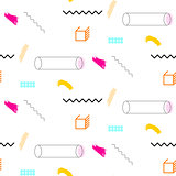Lines and cylinders 90s seamless vector pattern.