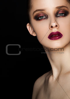 Beauty portrait red eyes and lips make up model