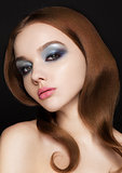 Beauty blue eyes pink lips makeup fashion model