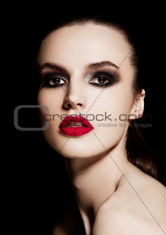 Beauty smokey eyes red lips makeup fashion model