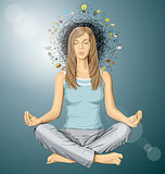 Vector Woman Meditation in Lotus Pose