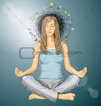 Vector Woman Meditation in Lotus Pose