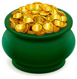 Green pot full of gold coins