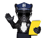 policeman dog with  ticket fine