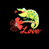 Graphics in love with a funny chameleon