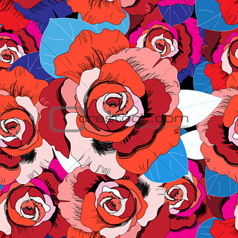 Bright pattern of red roses