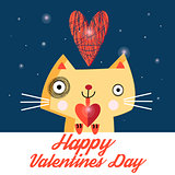 Vector bright love the cat