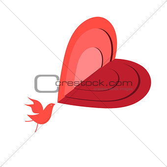 Beautiful red bird in love