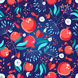 Seamless bright pattern pomegranates