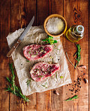 Pork Rib Eye Steaks with Ingredients