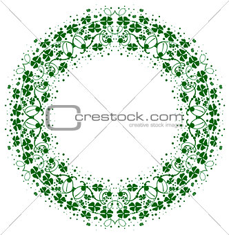 Green leaf clover round floral frame ornament