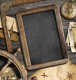 Vintage nautical objects as adventure, travel and exploration concept