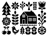 Scandinavian, Nordic folk art pattern - inpspired by Finnish art, black and white