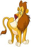 Uncertain lion