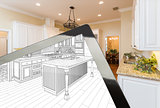 Computer Tablet Showing Drawing of Kitchen Photograph Behind