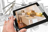 Hand on Computer Tablet Showing Photo of Kitchen Drawing Behind