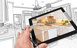 Hand on Computer Tablet Showing Photo of Kitchen Drawing Behind.