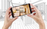 Hands Holding Smart Phone Displaying Photo of Kitchen Drawing Be