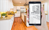 Hand Holding Smart Phone Displaying Drawing of Kitchen Photo Beh