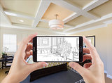 Hands Holding Smart Phone Displaying Drawing of Bedroom Photo Be