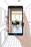Hand Holding Smart Phone Displaying Photo of House Hallway Drawi