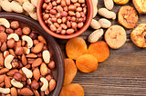 Nuts in plate and dried fruits