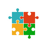 Four piece color puzzle icon