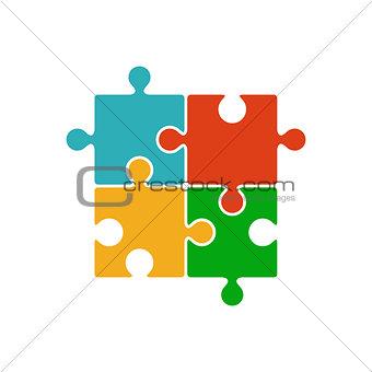 Four piece color puzzle icon